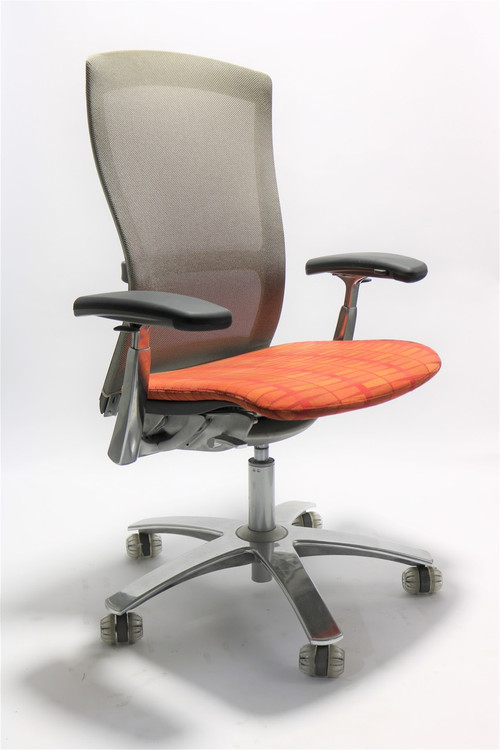Life Chair By Knoll Gray Mesh Back Orange Seat