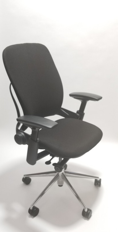 Steelcase Leap Chair V2 In Black Leather And In Polished