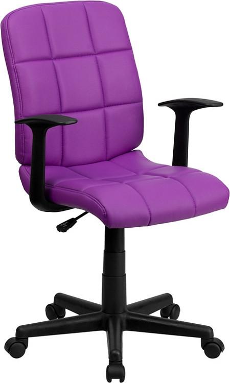 Flash Furniture Mid Back Purple Quilted Vinyl Swivel Task