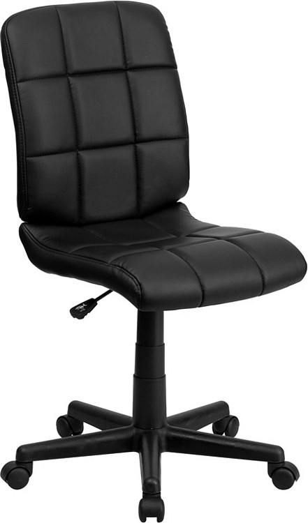 Flash Furniture Mid Back Black Quilted Vinyl Swivel Task