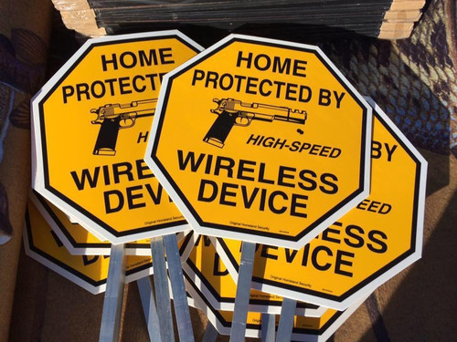 Home Protected by High-Speed Wireless Device Yard Sign