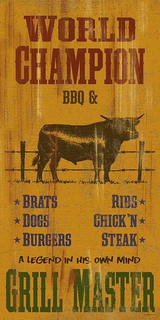World Champion BBQ & Grill Master Novelty Sign