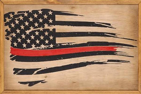 American Flag Framed Wood Sign