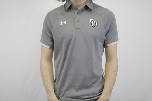 Grey Under Armor Polo with White Stripes