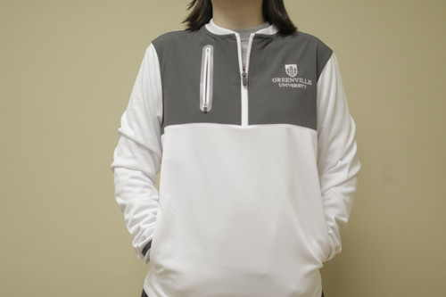 White w/ grey 1/4 zip