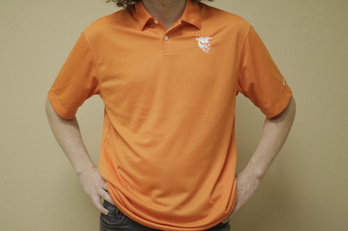 Orange Nike Polo w/ white Panther head
