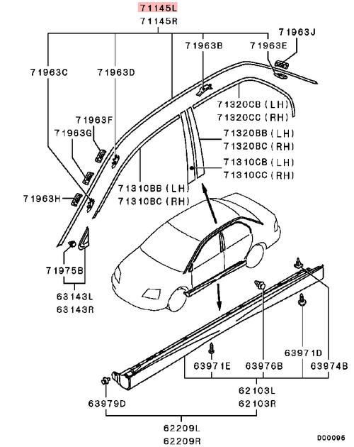 Mitsubishi Evo CT9A Roof Drip Rail
