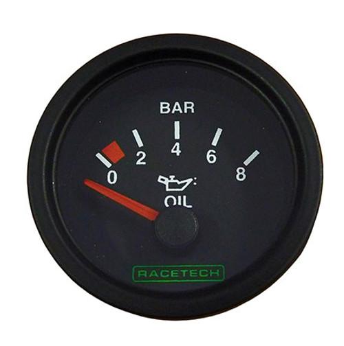 Racetech Oil Pressure Gauge 0-8 Bar - EARS Motorsports. Official stockists for Racetech-RTEOP8