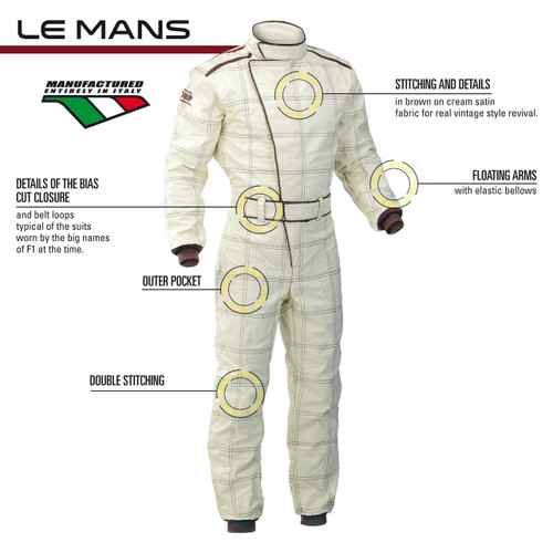 OMP LE MANS 3 Layer Vintage Racesuit - EARS Motorsports. Official stockists for OMP-IA01823F