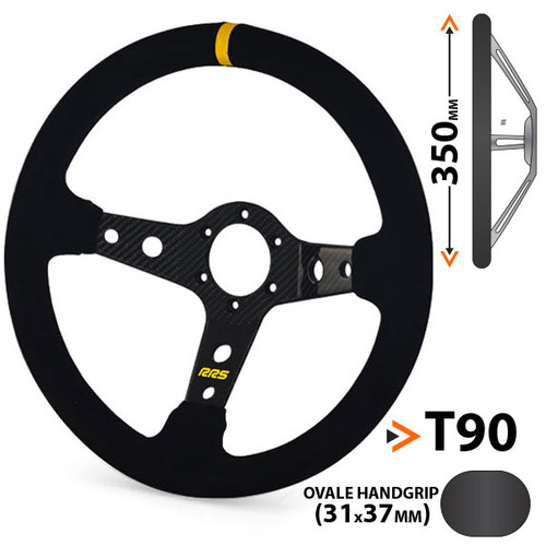 RRS Carbon 90mm Dished Suede Steering Wheel