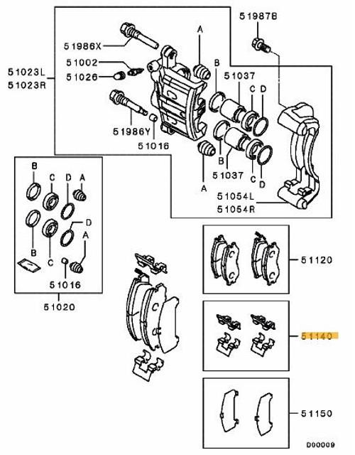 Mitsubishi Evo 6-9 Caliper Clip & Pin Set (Per Axle)