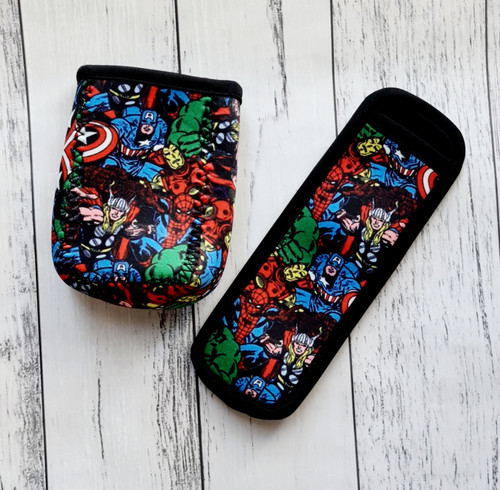 Children's juice box/pop top holders made out of neoprene material. Fun designs for children. Personalised with your child's name using heat transfer vinyl.  Avengers design