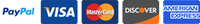 Payment Icon showing accepted payment methods PayPal, Visa, Mastercard, Discover, and American Express
