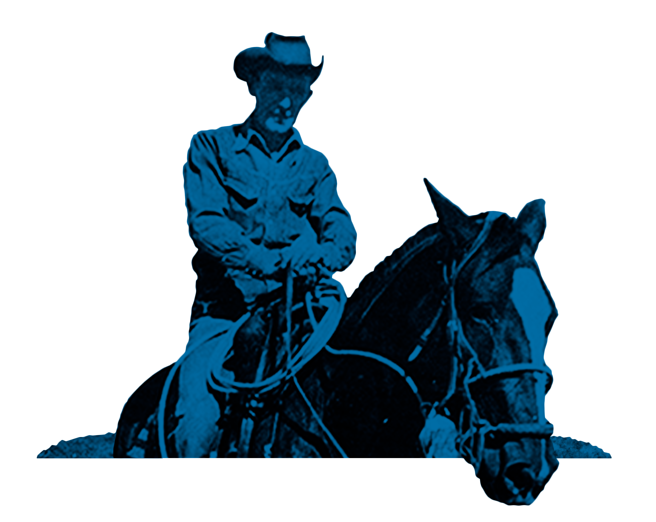 Ray Allen on a horse in black and white with blue overlay