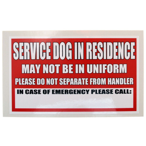 Service Dog In Residence Cling and Decal