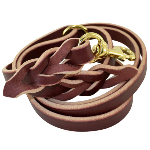 Braided Leather Leash with O-Ring