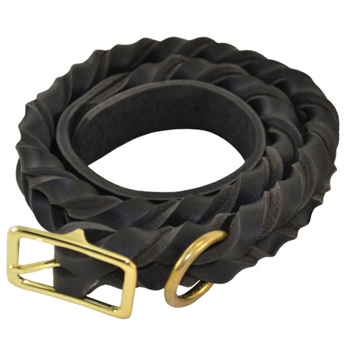 Deluxe Full-Braided Leather Dog Collar
