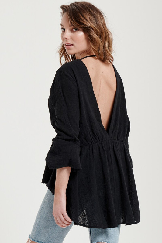 Tina Backless Top in Black Textured Cotton
