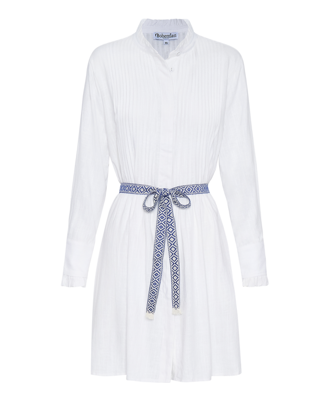 The Florence Dress in Dove White Linen