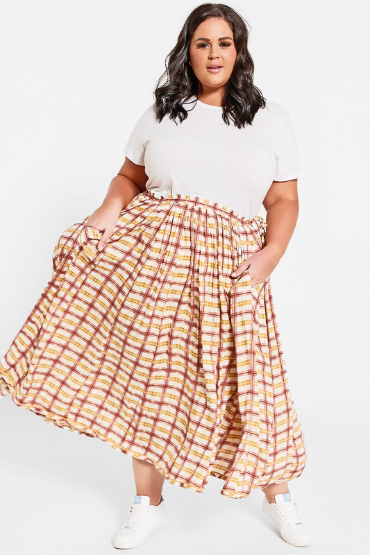 Rell Circle Skirt in Blush Gingham