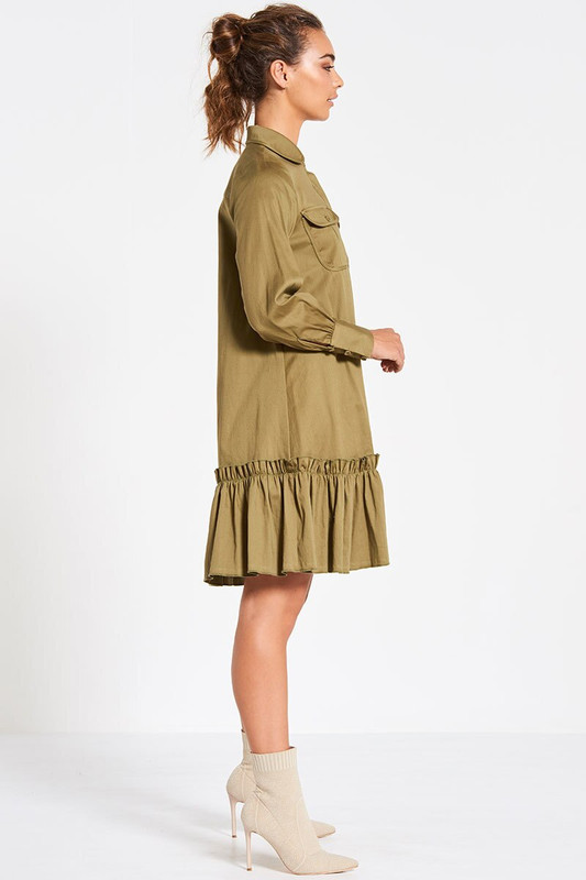 Collared Utility Swing Dress In Khaki