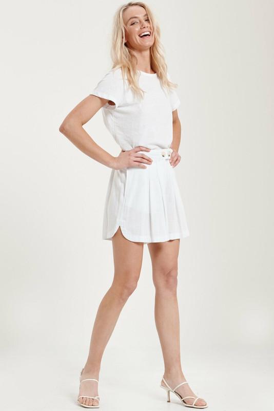 Lena Shorts in Dove White Linen