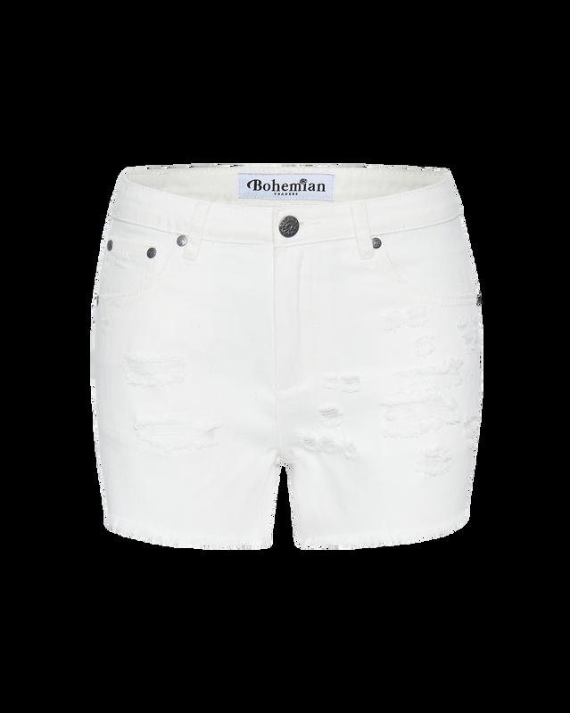 White Cut off Denim Short