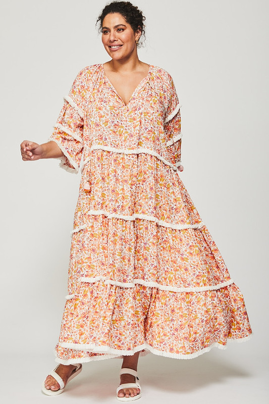 Gathered Smock Midi Dress in Dreamscape