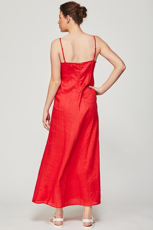 Tie Bodice Midi Dress in Berry Linen