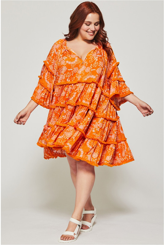 Gathered Smock Mini Dress in Tangerine Dream