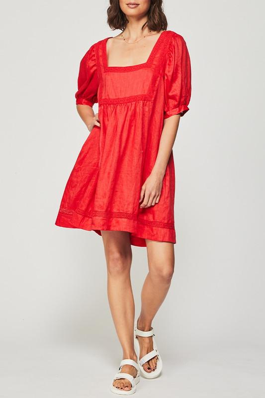 Prairie Dress in Berry Linen