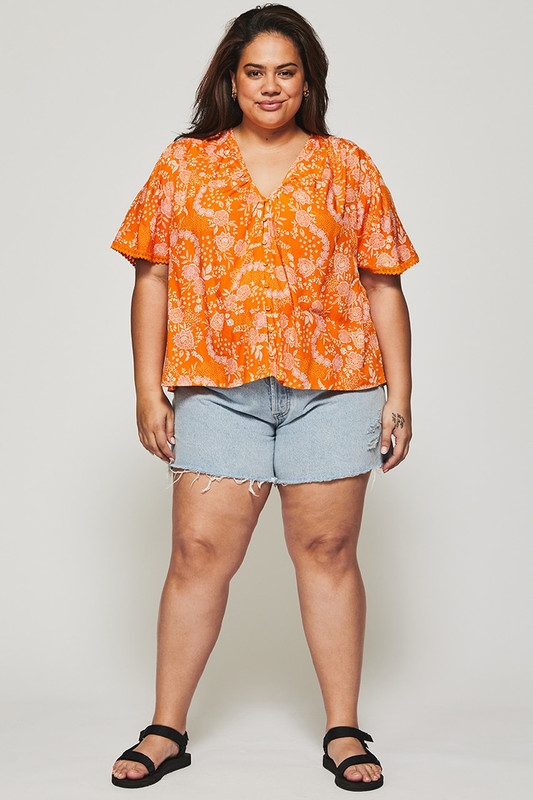 Button Through Blouse in Tangerine Dream