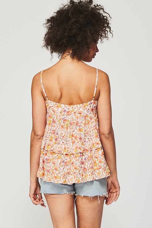 Tiered Trim Top With Bodice Tie in Dreamscape