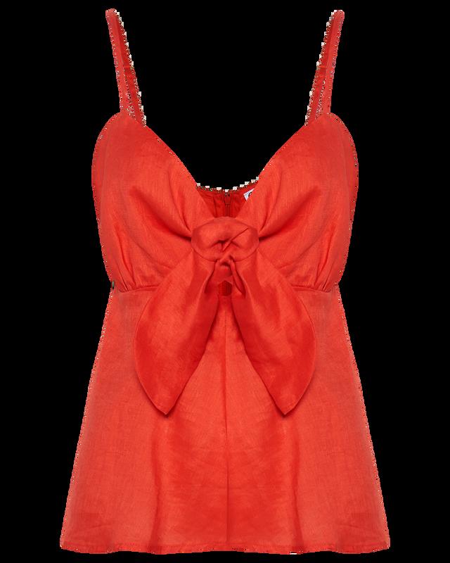 Tie Bodice Cami in Berry Linen