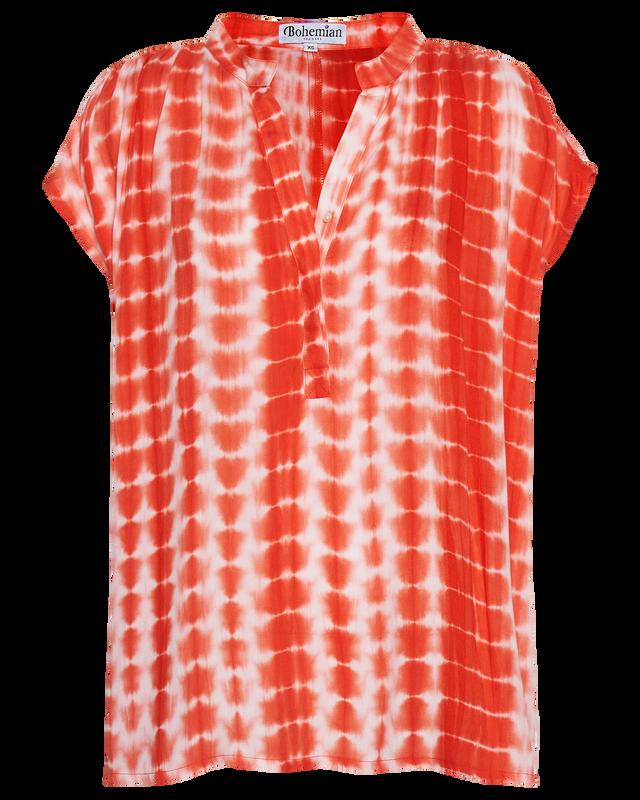 Oversized Deep V Top in Berry Tie Dye