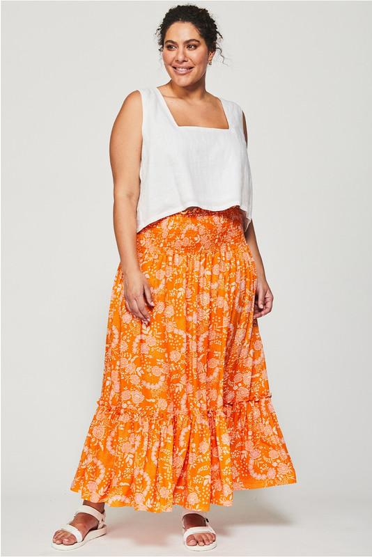 Shirred Waist Skirt in Tangerine Dream