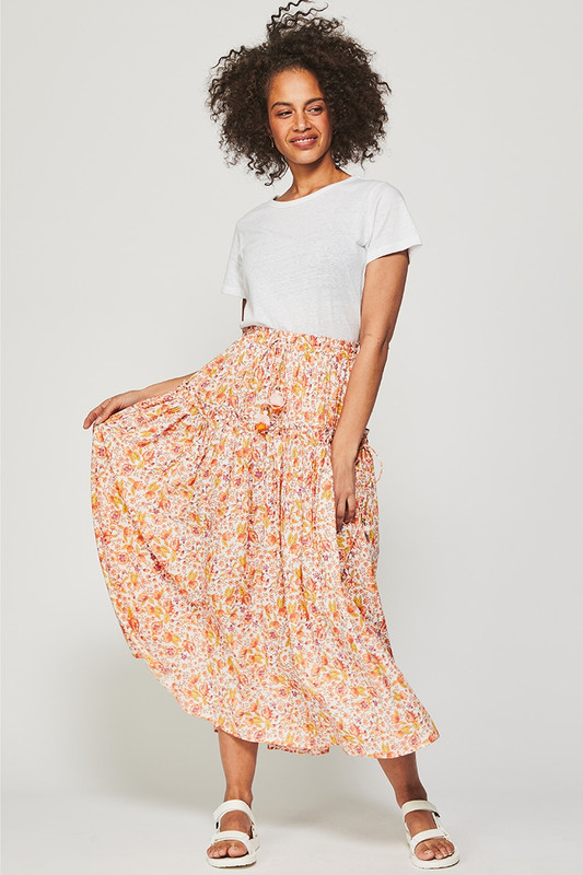 Draw Cord Ruffle Skirt in Dreamscape