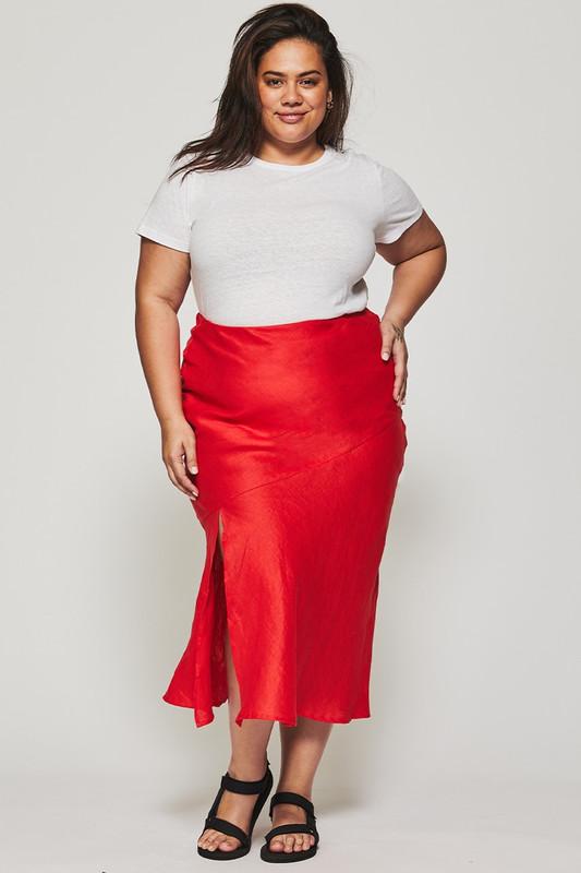 Bias Slip Skirt in Berry Linen