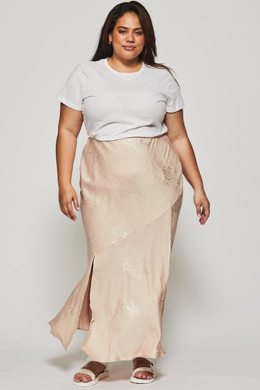 Bias Slip Skirt in Pebble