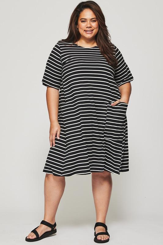 Sonia Swing Dress in Black and White Stripe