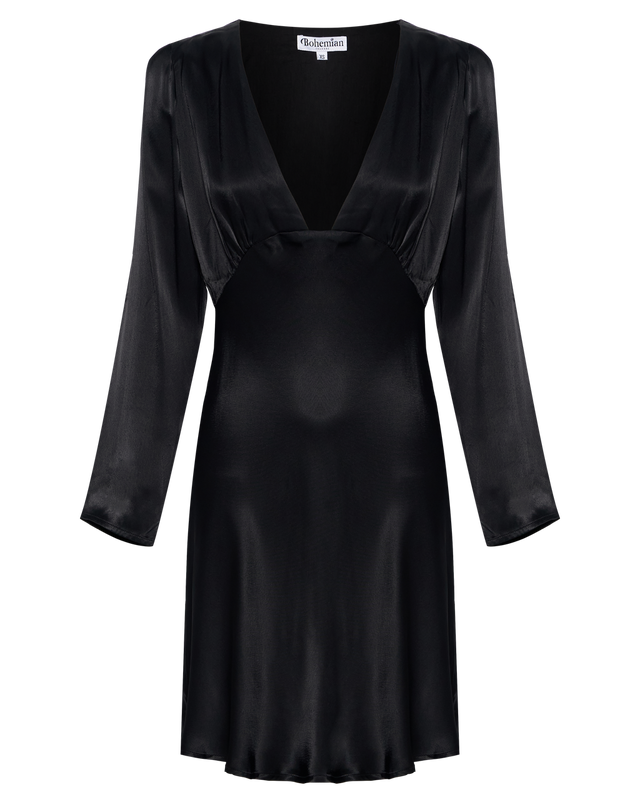 Long Sleeve Mini Dress in Black