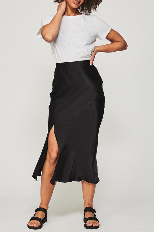 Slip Bias Skirt in Black