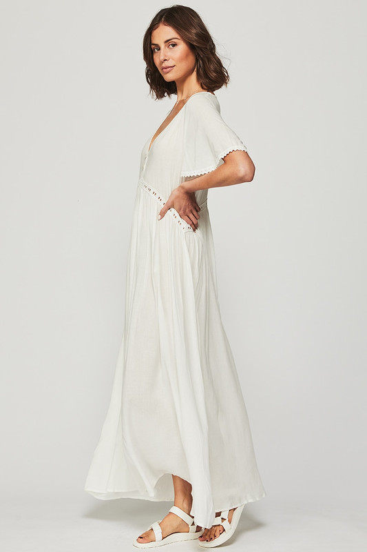 Lace Trim Smock Maxi Dress in Off White