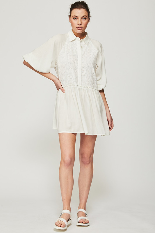 Broderie Anglaise Camilla Mini Dress in Off White