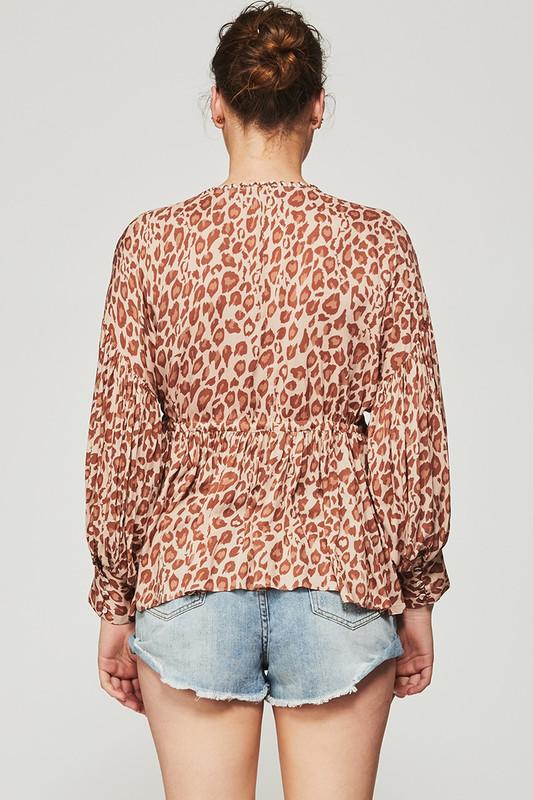 Billow Sleeve Swing Top in Light Leopard
