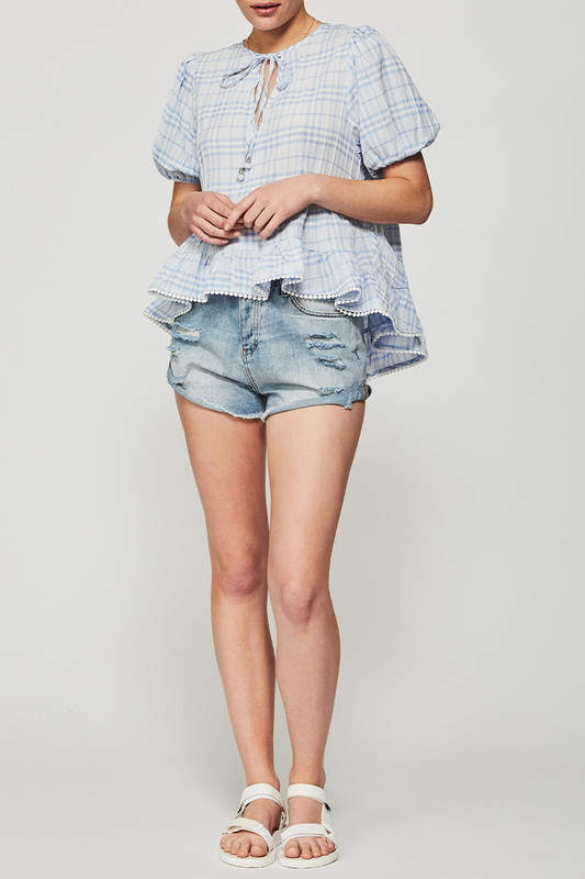 Tiered Panel Top in Blue Check
