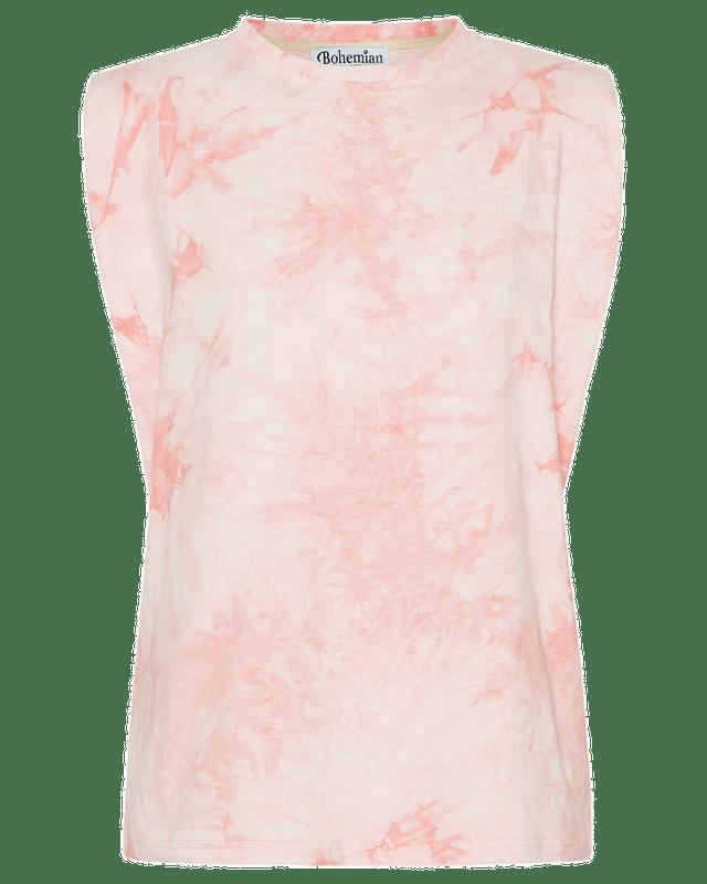 Shoulder Pad Tank in Pink Tie Dye