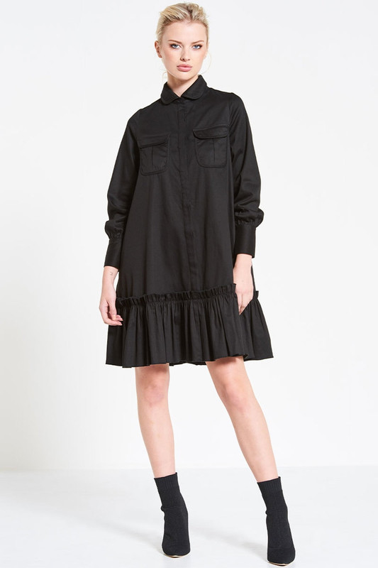 Collared Utility Swing Dress in Black