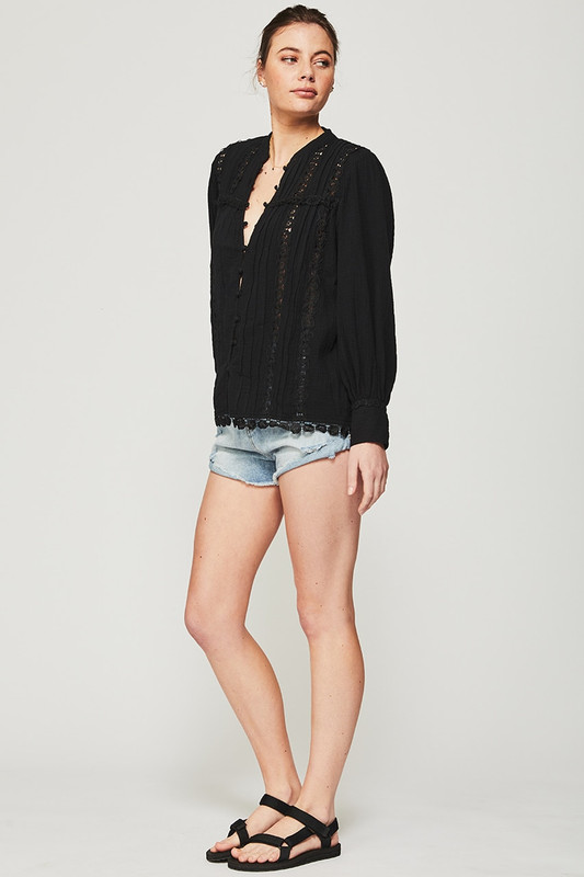 Long Sleeve Bonnie Blouse in Black Textured Cotton