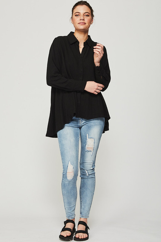 Collared Laidback Shirt in Black Linen
